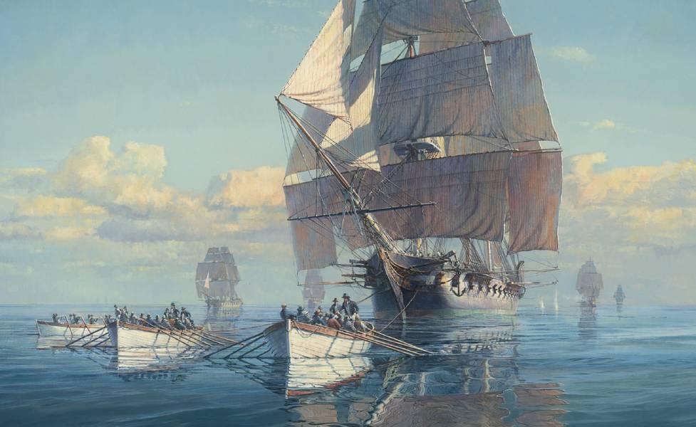 Картина Маартена Пладже под названием «Великая погоня» рассказывает об этой удивительной истории о том, как Конституция США по фрегатам успокоилась у побережья Нью-Джерси и стала участвовать в гребной гонке, чтобы держаться подальше от мощной британской эскадры. Конституция сбежала и продолжала одерживать ее удивительные победы в этом году, но если бы ее поймали, сегодня мы бы никогда о ней не услышали. Credit Maarten Platje