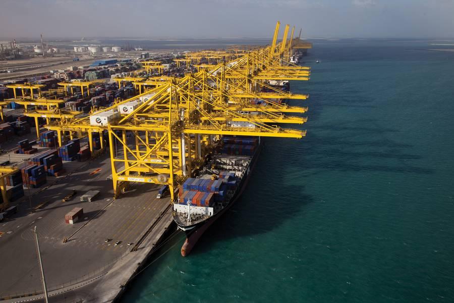 تمتلك موانئ دبي العالمية حاليًا خمس محطات في دبي ، ثلاثة في ميناء جبل علي الرائد. الصورة الائتمان: موانئ دبي العالمية