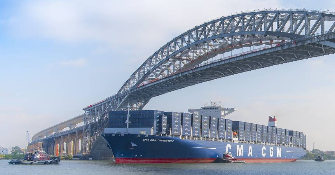 बेओन ब्रिज (भाग में वृद्धि को बेओन ब्रिज नेविगेशनल क्लीयरेंस प्रोजेक्ट के जून 2017 में पूरा होने के लिए जिम्मेदार ठहराया जा सकता है, जिसने पुल को 151 फीट से 215 फीट तक मंजूरी दे दी, जिससे दुनिया के सबसे बड़े कंटेनर जहाजों को इसके नीचे से गुजरने की अनुमति मिली और) न्यूयॉर्क और न्यू जर्सी में पोर्ट टर्मिनलों की सेवा करें। क्रेडिट: पोर्ट एनवाई / एनजे
