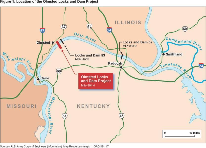 オルムステッド・ロックとダムと周辺の河川インフラ(クレジット:GAO)のレンダリング