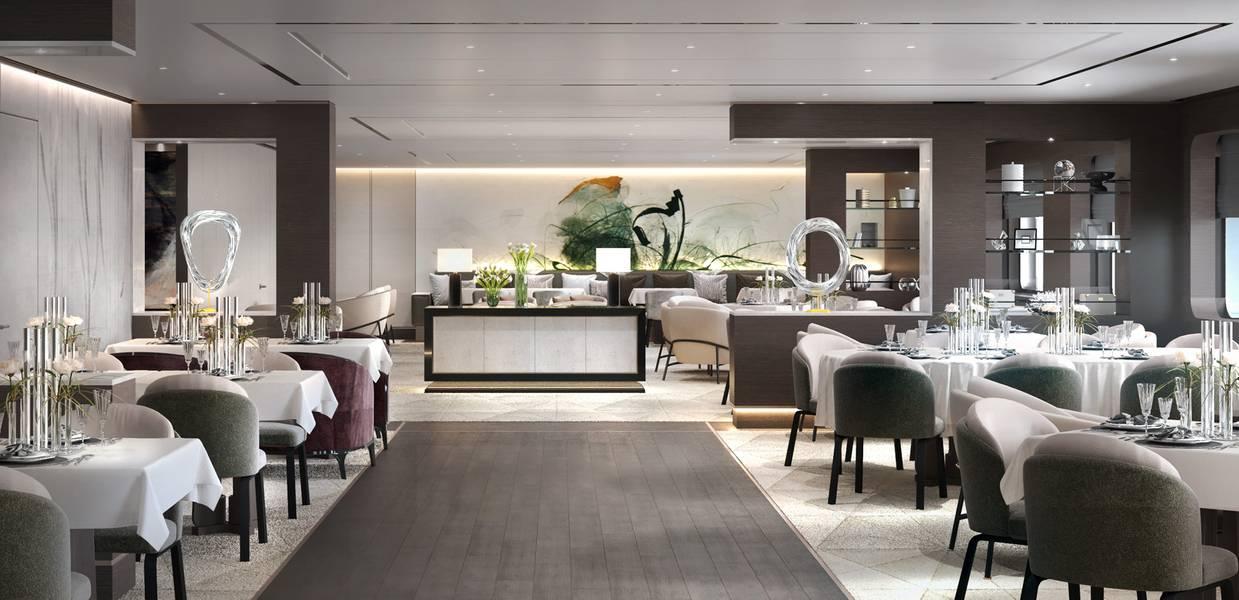 主餐厅日视图。图片:瑞典的Tillberg Design