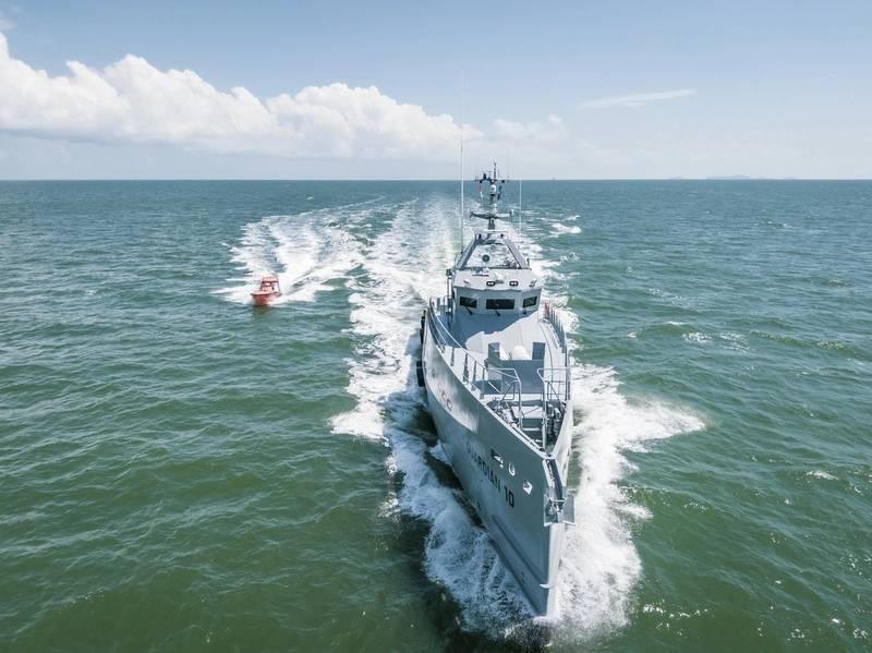 A Damen entregou recentemente um par de navios-patrulha FCS 3307 de alta especificação a serem operados pela Homeland Integrated Offshore Services (Homeland IOS Ltd) na Nigéria. Foto: Damen