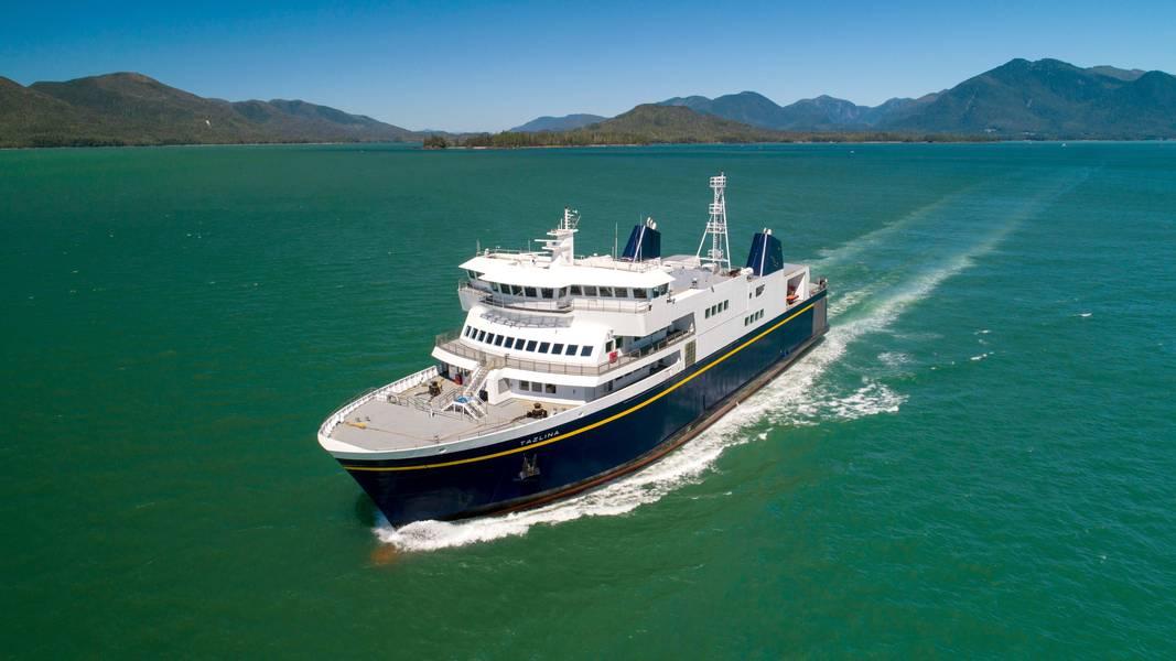 """Die Tazlina, eine der vielen Fähren des Alaska Marine Highway Systems, war während des neuntägigen Streiks im Leerlauf - was die breite Öffentlichkeit stark belastet. eine, die von der Regierung von Gouverneur Mike Dunleavy als """"illegal"""" eingestuft wurde. Bild: Kraft / Zustand von Alaska"""