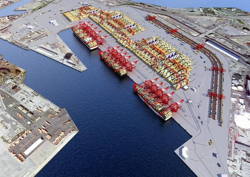 Eine Wiedergabe des Hafens der langen mittleren Hafenpfeiler des Strandes.