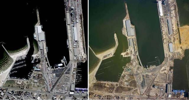 Gulfport, antes y después del huracán Katrina. Imagen: NOAA