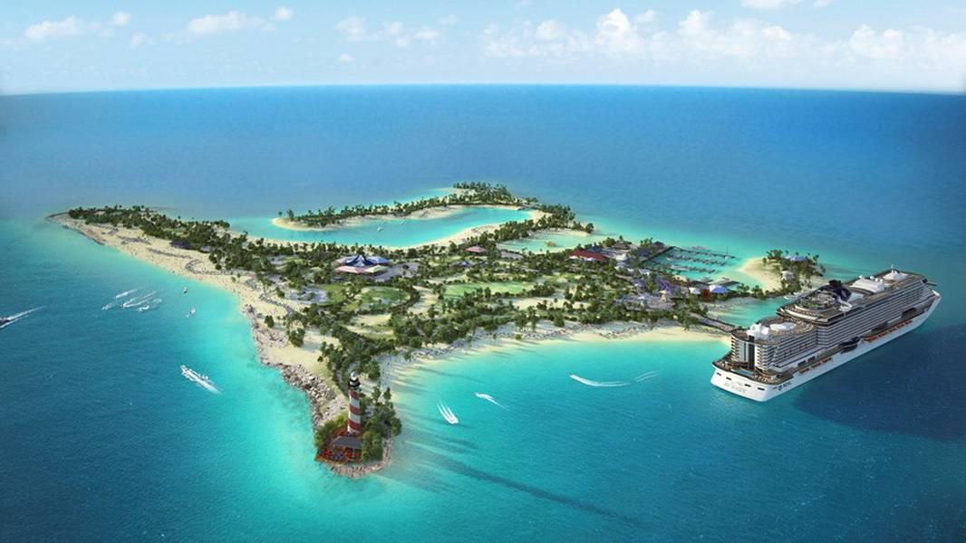Ocean Cay (Η απόδοση του καλλιτέχνη του προσαρμοσμένου νησιού MSC, του Sea Cay MSC Marine Reserve.)