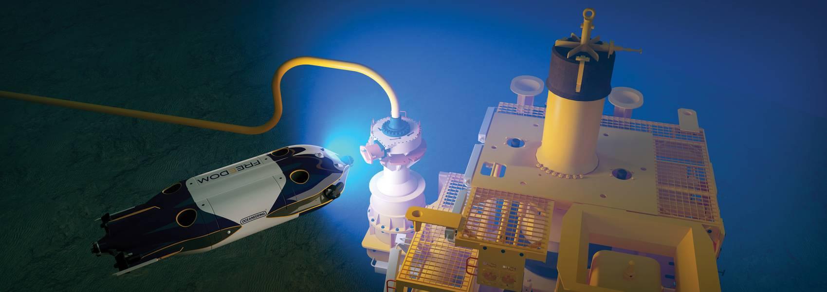 Oceaneering的Freedom车辆检查水下采油树。由Oceaneering International提供