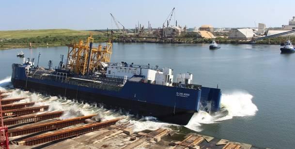 Q-LNG 4000掩体驳船由建造商VT Halter Marine推出(照片:VT Halter Marine)