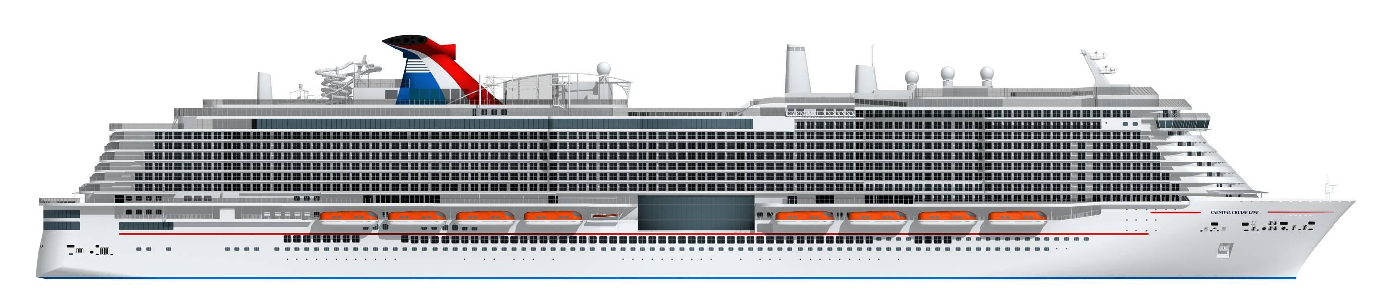 Representação artística do novo navio de 180.000 toneladas da Carnival a ser alimentado por GNL (Imagem: Carnival Cruise Line)