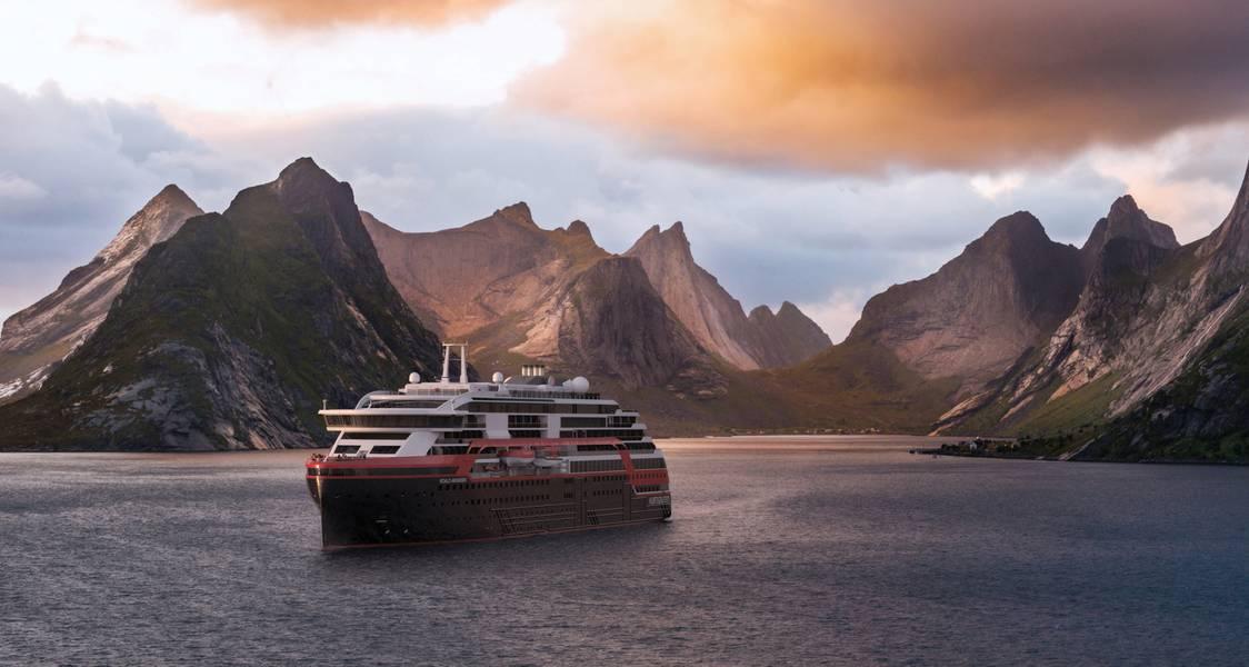 MS Roald Amundsen在挪威峡湾巡航的印象。这艘船将于今年晚些时候交付。图片由Hurtigruten提供