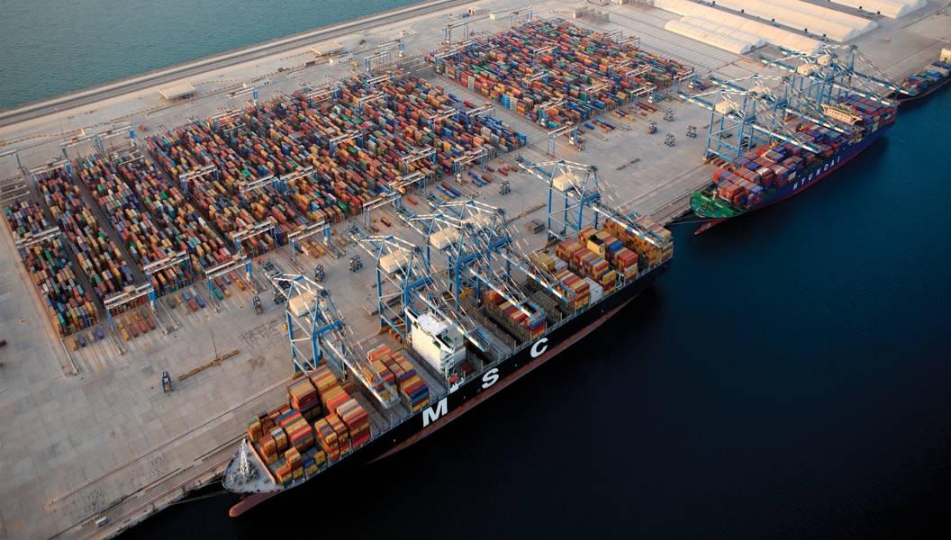 Vista aérea, amarre en el puerto de Khalifa. (Foto: Khalifa Ports.