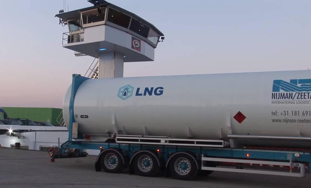 Un camión de abastecimiento de combustible de GNL en el puerto de Rotterdam (CRÉDITO: Puerto de Rotterdam