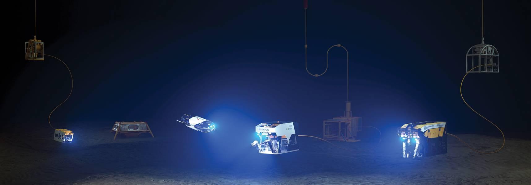 A linha de ROV da Oceaneering com veículos da próxima geração Freedom e E-ROV incluídos. Cortesia da Oceaneering International