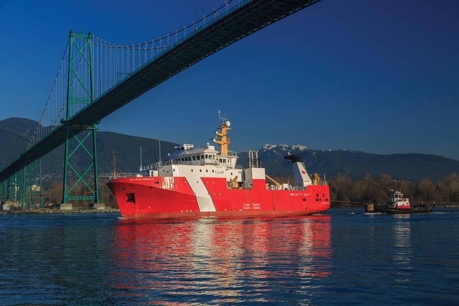 El primer buque grande lanzado bajo la Estrategia Nacional de Construcción Naval de Canadá, el buque de ciencias pesqueras costa afuera CCGS Sir John Franklin (Foto: Heath Moffat Photography)