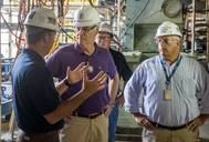 Rep. Ander Crenshaw (second from left) toured Newport News Shipbuilding and was briefed on the construction of Virginia-class submarines (VCS) while visiting the shipyard's Supplemental Module Outfitting Facility. Also pictured (left to right) are Matt Needy, Newport News' VCS program director; Scott Whitmore, VCS construction superintendent; and Rob Austin, VCS construction director. (Photo by Chris Oxley/HII)