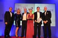 BVM Export Business of the Year L-R Tom Webb &  Anne-Marie Hamer from Mogers Drewett, Danny Thrasher, Lesley Keets & Phil Whitehurst from Actisensem, and Nick Thompson GB Sailor (Photo: Actisense)
