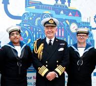 Admiral Lord West of Spithead with Sea Cadets at Seafarers UK's Annual Meeting last year.   (Photo: Seafarers UK)