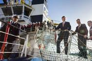 His Majesty King Willem-Alexander of the Netherlands being welcomed on board Multraship's Emergency Towage Vessel Guardian by Captain Henk Helmendag following a ceremony to mark the reopening of the renovated De Ruyter Maritime and Logistics College. Also pictured are provincial governor Han Polman, and Henrik Stevens, principal of the college. (Photo: ANP)