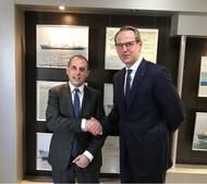 """The Minister of Transport, Communications and Works of the Republic of Cyprus, Mr Marios Demetriades, welcomes the newly appointed Sales Executive in Germany, Mr Christian Bahr"" (Photo: Cyprus)"