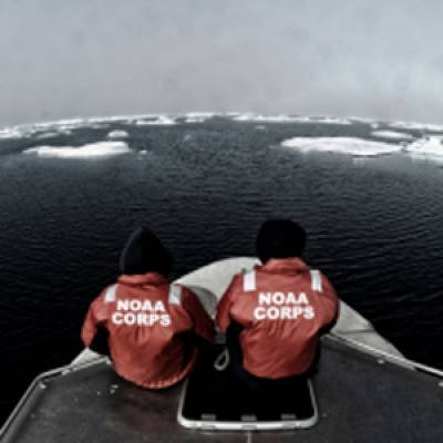 Two NOAA Corps Officers aboard 'Fairweather': Photo credit NOAA