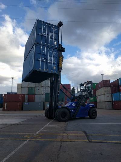 Cooper Specialized Handling has supplied the first of SANY's new generation of empty container handlers to go into service in the U.K. to Maritime's Leeds depot. (Photo: Cooper Specialized Handling)