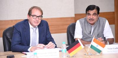 German Federal Transport Minister Alexander Dobrindt and Indian Shipping Minister Nitin Gadkari. Photo: Minister's Official Twitter Page