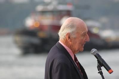 Capt. Brian McAllister speaking at his company's 150th Anniversary celebration. (Photo: Greg Trauthwein)