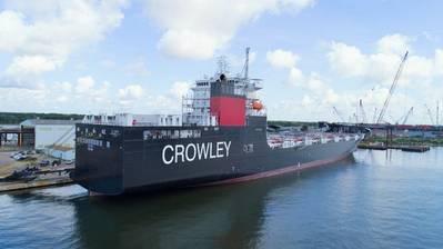 صُممت شركة El Coqui ، وهي حاملة ConRo تحمل علم الولايات المتحدة ، مؤخرًا خصيصًا لقواعد Jones Act Caribbean وتعمل بواسطة LNG الصديقة للبيئة. الائتمان: كراولي البحرية