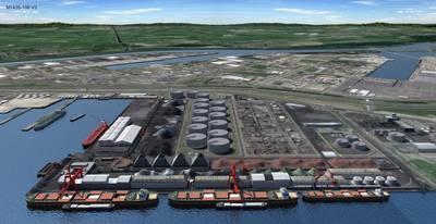 फ़ाइल छवि: रॉटरडैम के पोर्ट में एचईएस टर्मिनल का एक रेंडरिंग (क्रेडिट: एचईएस)
