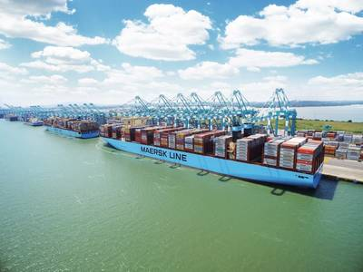 ファイルイメージ:The Madrid Maersk、2万以上のTEUボックス船(CREDIT:Maersk)
