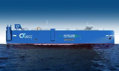 UECCの3番目のLNG駆動の純粋な自動車およびトラック運搬船(PCTC)には、さらにハイブリッド電池推進技術が搭載されています。この船は、同社の大西洋近海貿易ルートで使用されます。 (画像:UECC)