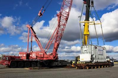 (ائتمان: MDOT Maryland Port Administration and Charles Schelle) (إمكانات الإيقاف في ميناء بالتيمور مدعومة برافعتين للرفع الثقيل ، وسكة حديدية محسّنة على رصيف الميناء تتيح تفريغ مباشر للسفن ، وثلاث منصات رفع ثقيلة بسعة 32.5 طن لكل المحور لكل وسادة.)
