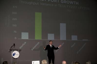 O Diretor Executivo da Autoridade Portuária da Geórgia, Griff Lynch, faz seu discurso Brunswick State of the Port, quinta-feira, 25 de outubro de 2018, no Jekyll Island Convention Center.