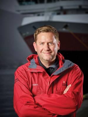 "Hurtigruten的首席执行官丹·斯凯尔丹(Dan Skjeldam):对探险游轮业的前景""看好""。照片由Hurtigruten提供"