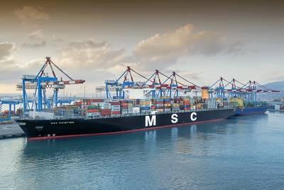 un MSC Containership en el puerto (CREDIT: Port Haifa)