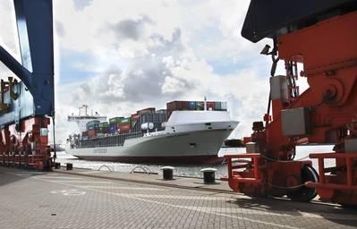 Navio Unfeeder Vera Rambow em Roterdão. Foto: Unifeeder Unifeeder vessel Vera Rambow em Roterdão. Foto: Unifeeder