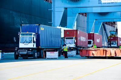 Operaciones intermodales en curso en JAXPORT. Crédito de la imagen: JAXPORT.
