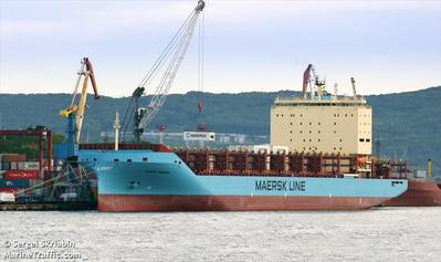 Venta Maersk在北极航行之前在俄罗斯符拉迪沃斯托克(Vladivostok)装载集装箱(©Sergei Skriabin / MarineTraffic.com)