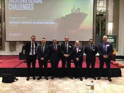 As novas sanções comerciais contra o Irã e as novas regras para combustíveis que chegam em 2020 para todo o setor marítimo foram as manchetes de um seminário realizado ontem pela seguradora marítima North P & I Club em Dubai, no Taj Dubai. Foto: North P & I Club.