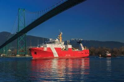 O primeiro grande navio lançado no âmbito da Estratégia Nacional de Construção Naval do Canadá, CCGS Sir John Franklin, navio de ciências pesqueiras offshore (Foto: Heath Moffat Photography)