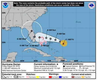 La situación del cono de tormenta del Centro Nacional de Huracanes de la NOAA a las 1100 horas local el 30 de agosto de 2019.