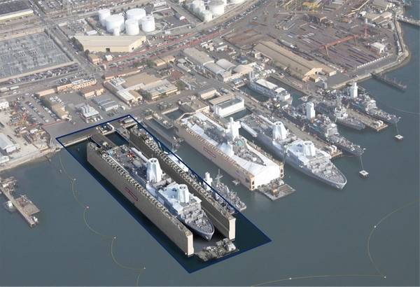 As part of the San Diego Ship Repair expansion, BAE Systems will purchase a new, additional dry dock, shown here as a rendering of where it would be positioned at the shipyard. It will be the company's largest dry dock in the United States, measuring 950-feet long and 205-feet wide, with a design lifting capacity of 55,000 tons. (Image courtesy of BAE Systems)