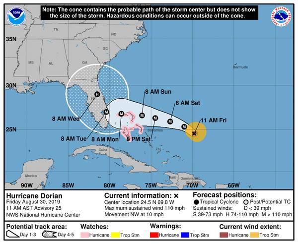 Ситуация с штормовым конусом Национального центра по ураганам NOAA в 11:00 по местному времени 30 августа 2019 года.