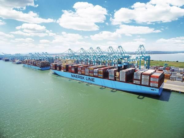 файл Изображение: Мадридский Maersk является контейнером 20 568 TEU, управляемым Maersk (CREDIT: Maersk)