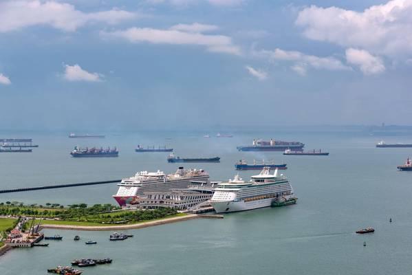 بدأت الموانئ في سنغافورة في فحص المسافرين القادمين على متن سفن الركاب والسفن التجارية بحثًا عن أعراض فيروس كورونا (© hit1912 / Adobe Stock)
