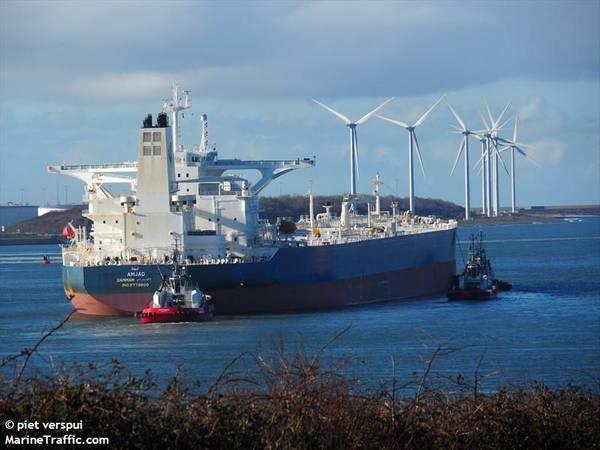 वीएलसीसी MJAD, रायटर द्वारा रिपोर्ट किए गए जहाजों में से एक के रूप में। क्रेडिट: MarineTraffic.com / © पीट छंद