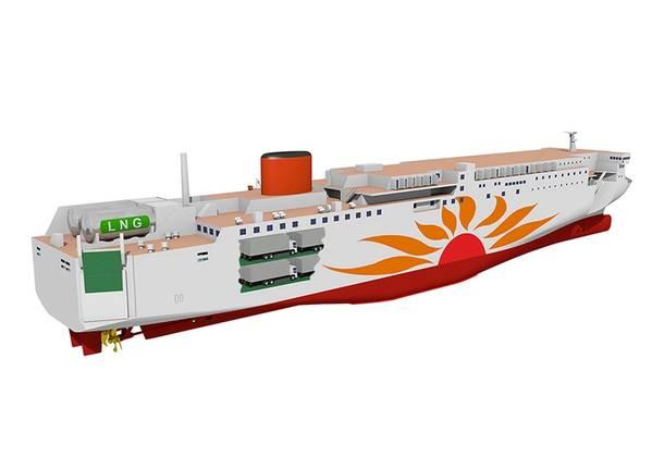 与传统的船用燃料油相比,单位热容的二氧化碳排放量要降低20%以上,并且几乎没有SOx排放量。图片:MHI