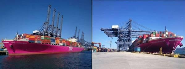 中国のYantian港でのONEの最初のマゼンタコンテナ船。写真:オーシャンネットワークエクスプレス(東アジア)。株式会社