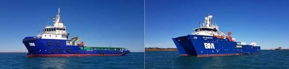 CMV Athos (links) ist ein 65-Meter-, ABS-klassifiziertes Mehrzweck-Anker-Schlepper-Versorgungsgerät (AHTS) / Offshore-Unterstützungsschiff (OSV). DP2 SeaMaster ist ein 40M Mehrzweck-ROV-, Vermessungs-, Bau- & Tauchunterstützungsschiff. Foto: Bhagwan-Marine