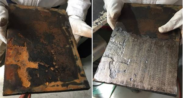 CoolLaser对甲板上钢的影响。之前(左)和之后。照片:NYK